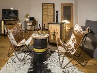 Interiér a doplňky z hovězí kůže v hotelu Zlatá kráva